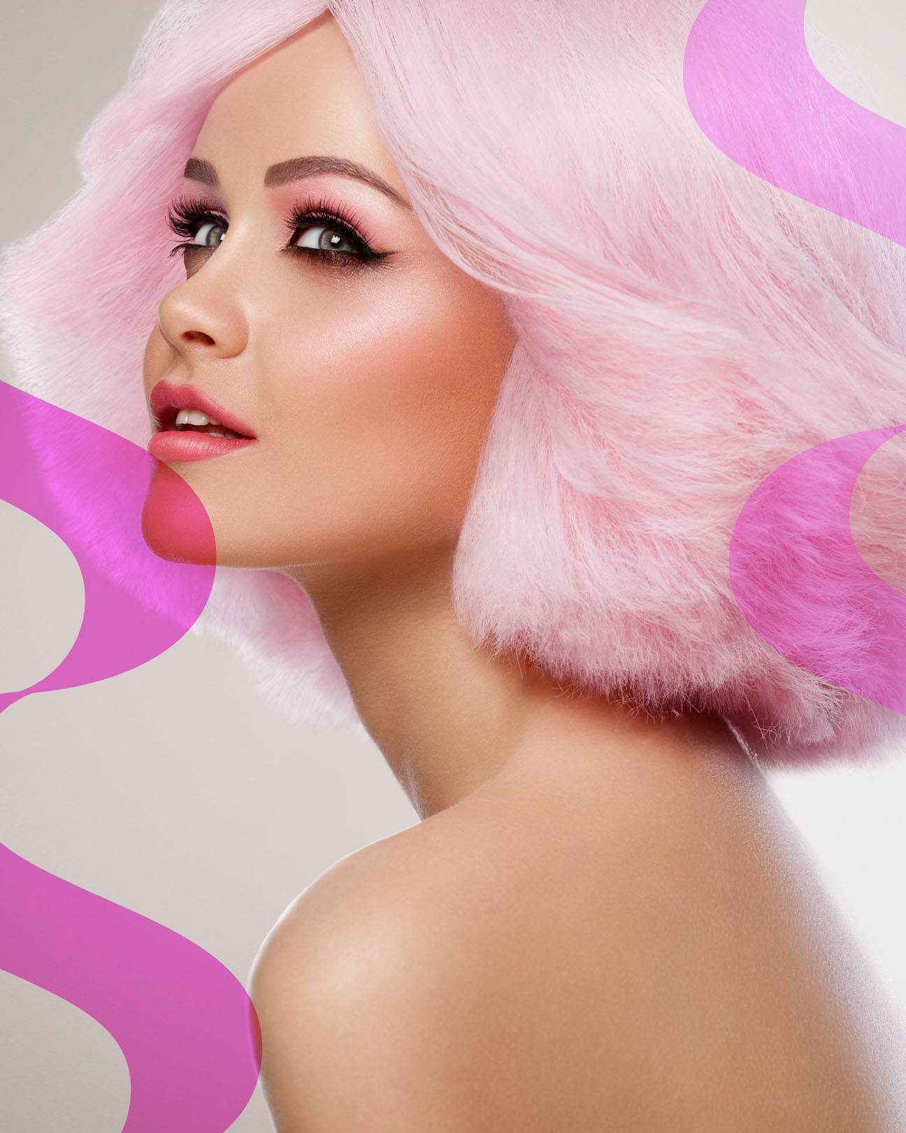 woman with bright pink hair and makeup