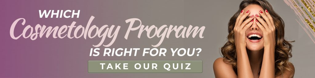 """banner with woman smiling with words that say """"which cosmetology program is right for you? Take our quiz"""""""